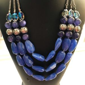 🔥NEW Designer Blue Silver layered Necklace🔥